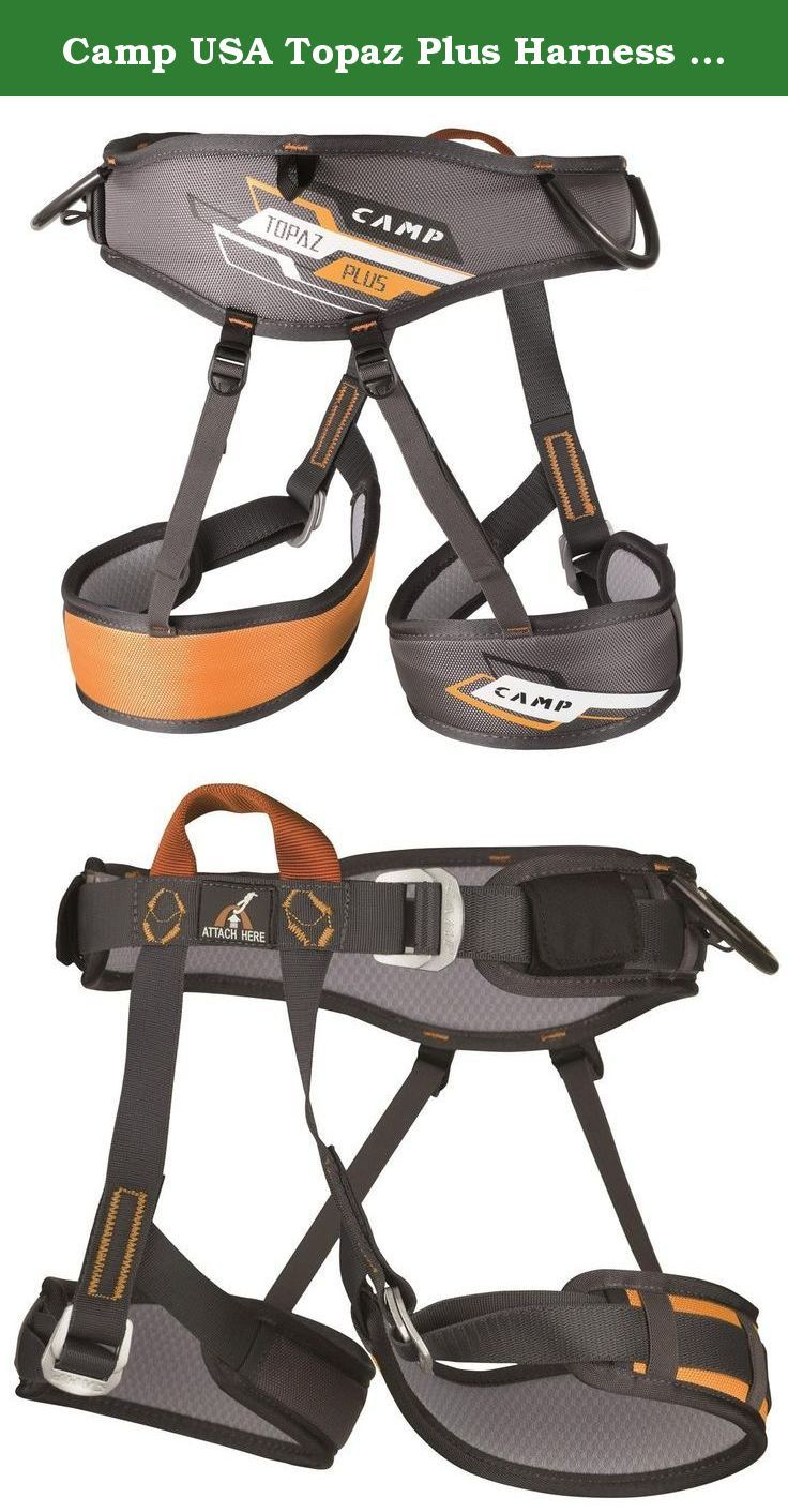 Camp USA Topaz Plus Harness One Size. FEATURES of the Camp USA Topaz Plus Harness Special FIT System with Velcro fits a huge range of waist Sliding padding on the waist and legs allows the padding to be centered Comfortable 6 mm EVA foam padding with soft, breathable inner mesh Pre-threaded auto-locking steel buckles with special safety keepers help prevent accidental unthreading The waist buckle is positioned on the left side so it can be easily adjusted by righthanded instructors 2…