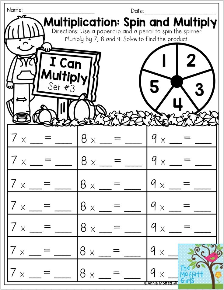 Multiplication: Spin and Multiply- Spin a number and
