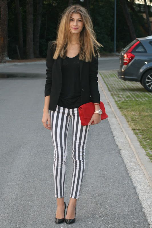 The Blossom Girls: Striped Pants & Red Clutch