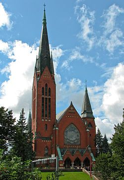 Michael's church, Turku, Finland; - designed by Lars Sonck and is one of the most popular wedding churches in Turku being able to seat 1,800 people. When Sonck won the competition for the church in 1894, he was only a 23-year old architectural student. *** http://fi.wikipedia.org/wiki/Lars_Sonck *** http://en.wikipedia.org/wiki/Lars_Sonck