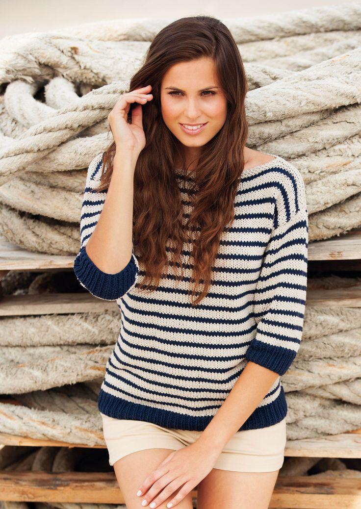 Tricotez ce petit pull style marinière. Avec ses manches trois-quarts, ce pull en coton aux rayures blanche et marine, sera parfait pour cet été ! Tailles a) 38-40 –b) 42-44 –c) 46-48 ...