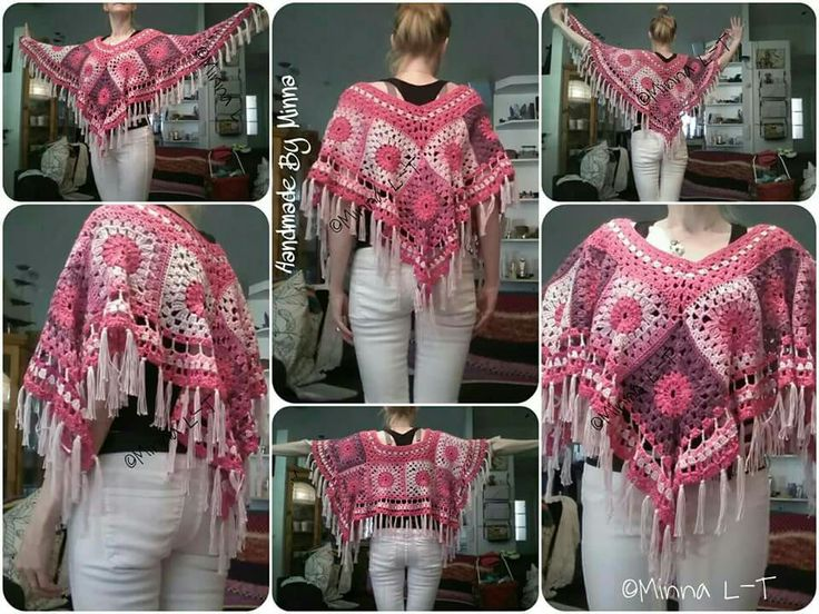 Kesäponcho, Crocheted summer Poncho, my own design