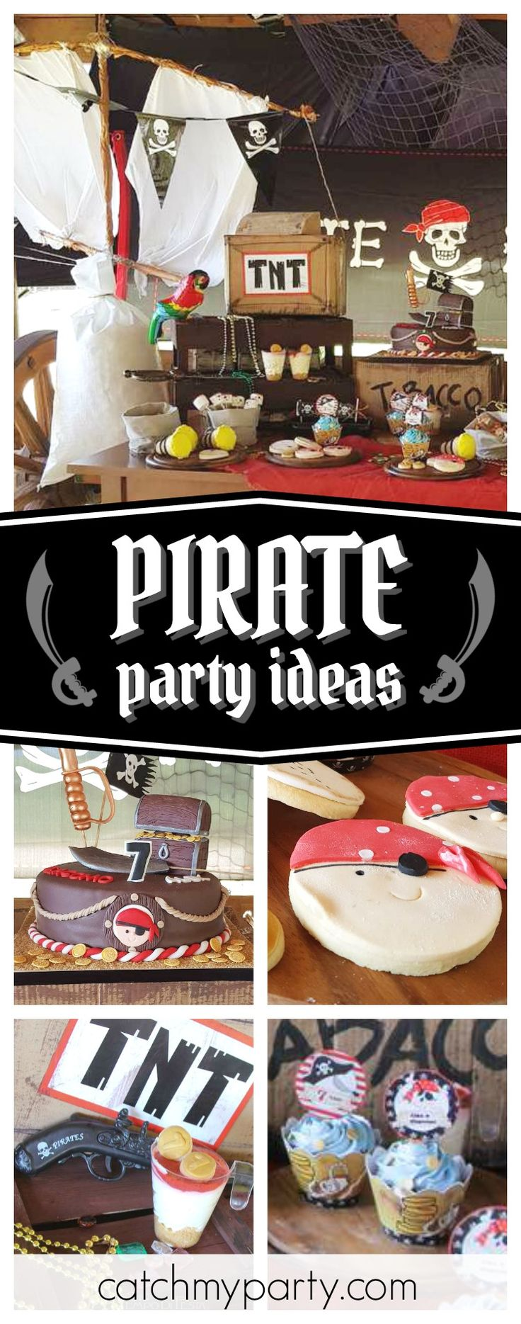 Check out this fun Pirate birthday party for twins!! The birthday cake is awesome!! See more party ideas and share yours at CatchMyParty.com