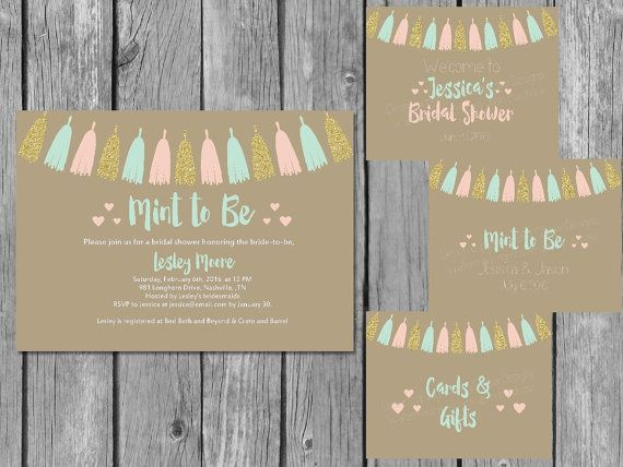 Printable Mint to Be Bridal Shower by PrettyPrintablesInk on Etsy
