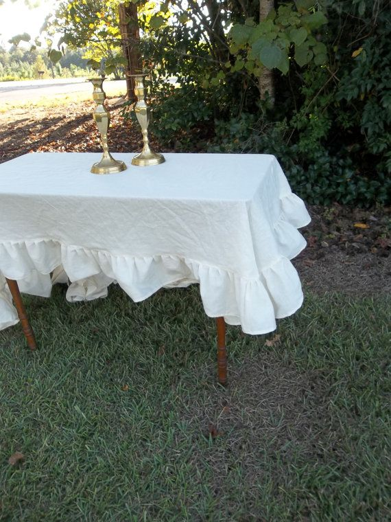 READY To SHIP Ruffled Tablecloth Handmade Ruffled Tablecloth Wedding Table  Settings French Country Prairie Cottage Table