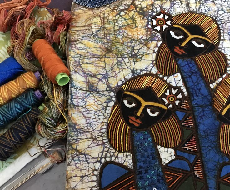 Working on a Jaka panel with WonderFil Specialty Threads from Artistic Artifacts