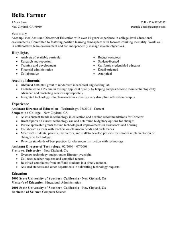 Assistant Director Resume Sample Teaching College Job Resume Examples Resume Examples