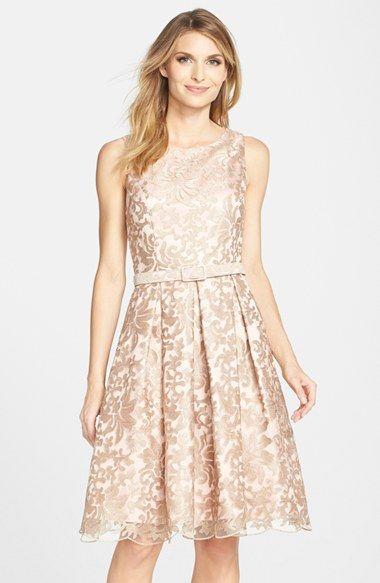 Eliza J Belted Embroidered Mesh Fit & Flare Dress (Regular & Petite) available at #Nordstrom