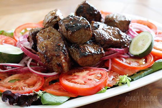 "Vietnamese Shaking Beef (Bo Luc Lac) I have made this steak salad 3 times now...it is so yummy...and for anyone that's counting...only 7 ww points.  Bonus.  But I would make this for anyone, I love food that's good for you that doesn't taste like ""diet food"""