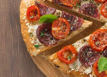 Whole wheat pizza crust and all the instructions for making a healthy pizza.