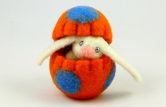 Easter Bunny in an Easter Egg - Easter Gift - Easter Decorations - Felt Easter - Felted Easter Bunny - Easter Eggs - Bunny Toy