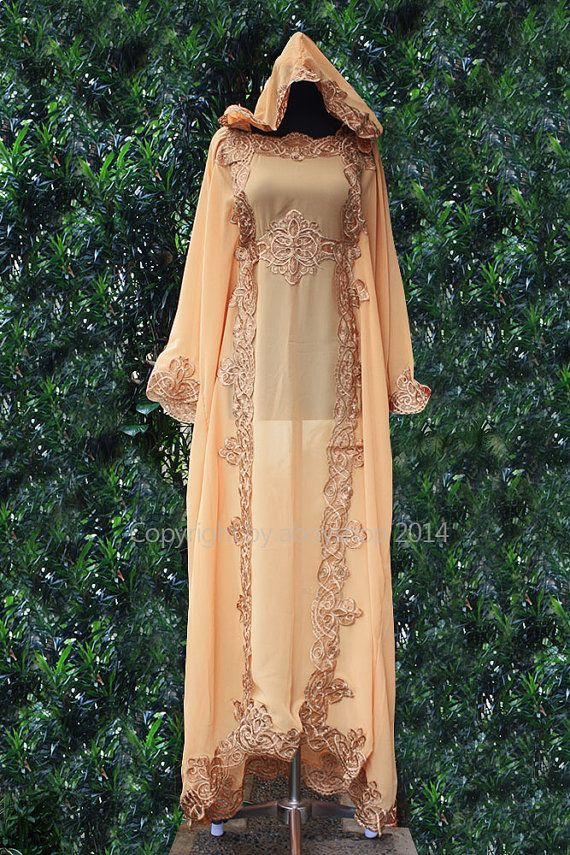 Moroccan Hoodie Kaftan Mocha Peach Chiffon Fancy FULL Gold Embroidery Dubai Abaya Maxi Dress farasha Hijab Kaftan Style Jalabiya - For Women. This seller also sell inner dress liner for $20 here: http://www.etsy.com/listing/165633186/moroccan-innerd-caftan-dress-maxi-dress?ref=shop_home_active_21