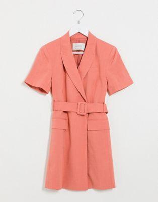 stradivarius blazer dress in pink blazerkleid kleider taillenguertel