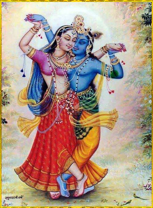 """……Then Son of Nanda,Shri Krishna hugged Radha gently.Due to love and…"