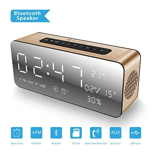 [2018 New Updated] ICE-BINGO A10 Bluetooth Speakers, Wireless Bluetooth Home Stereo Speaker with HD Sound/Bold Bass, Alarm Clock/FM for Echo Dot, iPhone, Gift.,Android (Gold) #Updated] #BINGO #Bluetooth #Speakers, #Wireless #Home #Stereo #Speaker #with #Sound/Bold #Bass, #Alarm #Clock/FM #Echo #Dot, #iPhone, #Gift.,Android #(Gold) #iphonealarmsound,
