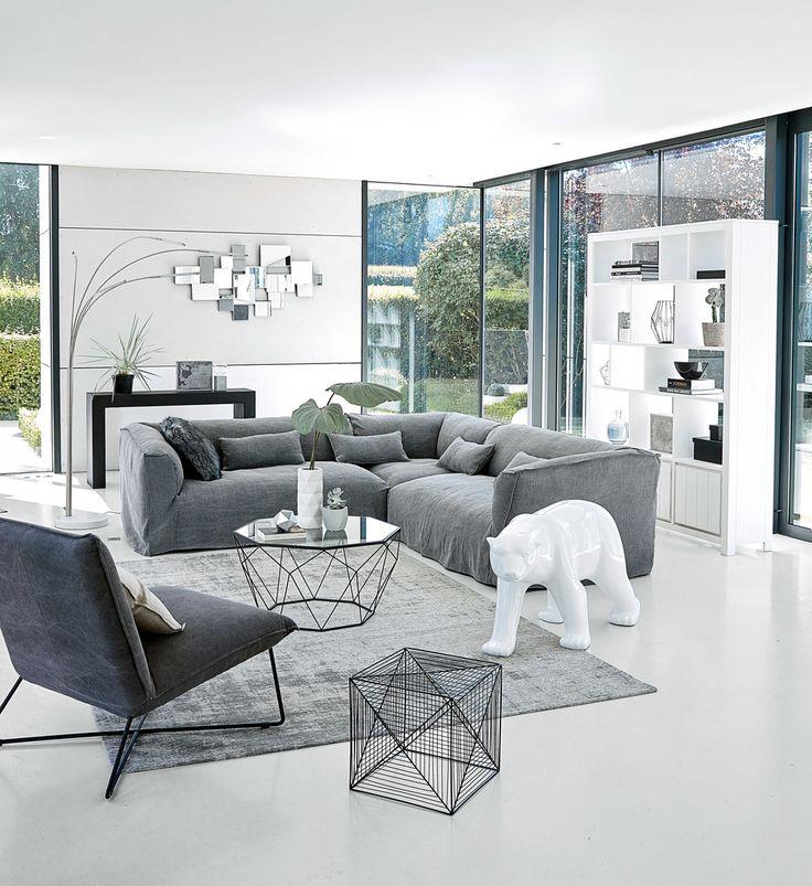 Table basse en verre trempé et métal noir | Maisons du Monde