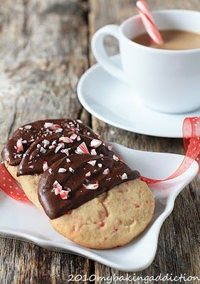 Chocolate Dipped Peppermint Cookies | My Baking Addiction