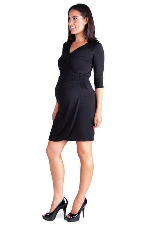 14107cd5ae8 24seven Comfort Apparel Black Maternity Cocktail Dress With Sleeves-Dresses-24Seven  Comfort Apparel-BLACK-S-24 7 Comfort Apparel