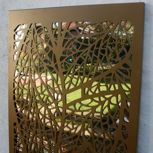 Leaf Pattern Outdoor Garden Mirror In Gold Colour Garden
