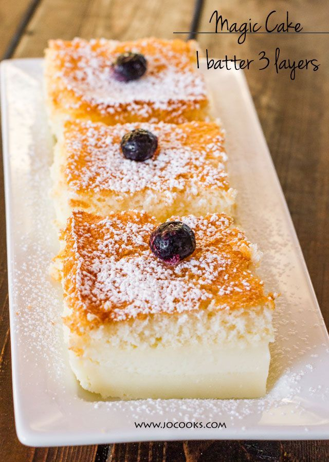 Magic Cake – one simple thin batter, bake it and voila! You end up with a 3 layer cake, magic cake.
