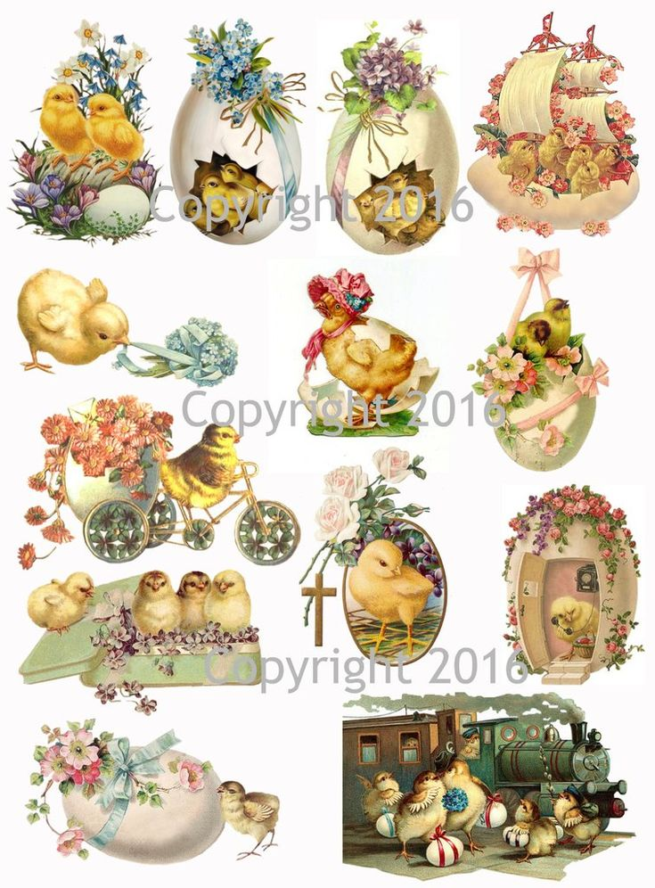 """Vintage Easter Scrap Images Chicks and Eggs Printed Collage Sheet 8.5 x 11"""" For Decoupage, Altered Art, Scrapbooking etc. Ready to use for any project, scrapbooking, crafts, jewelry etc. Professionall"""