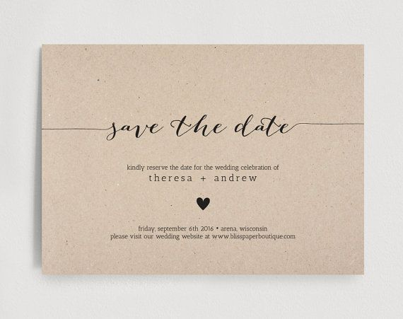 Save The Date Invitation Printable Wedding Template Pdf Instant Bpb165 2 In 2018 Invitations