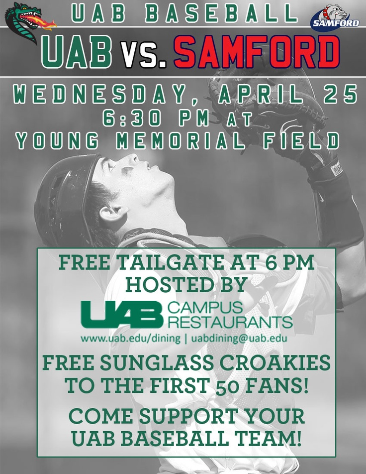 @UAB Dining hosting a STUDENT tailgate at tonight's UAB Baseball game! 6PM