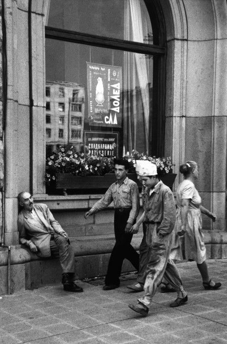 An old man taking a rest in front of the Balkan Hotel in Sofia, Bulgaria, 1958.