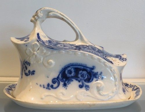 Antique Flow Blue English Pottery Covered Cheese Dome w Scrolls