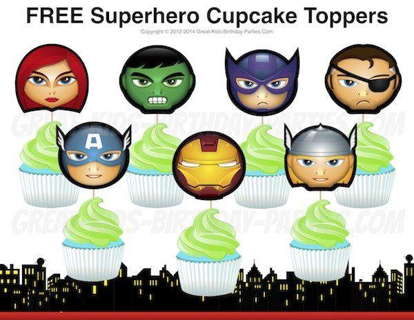Toppers para Cupcakes de los Vengadores para Imprimir Gratis. | Oh My Fiesta! Friki