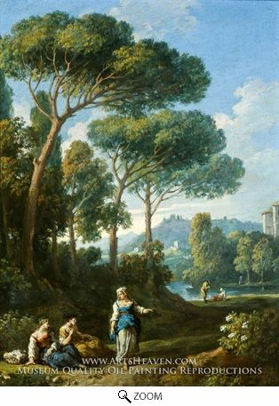 Painting Reproduction of One of a Pair of Views of the Roman Campagna with Figures Conversing, Jan Frans Van Bloemen