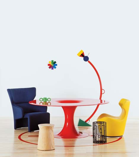 CAPPELLINI red Drain table by Marcel Wanders