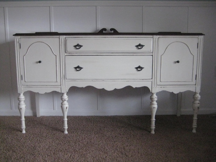 Creamy White Antique Buffet SOLD OBO Height Width Length Hand Painted And Restored A Off