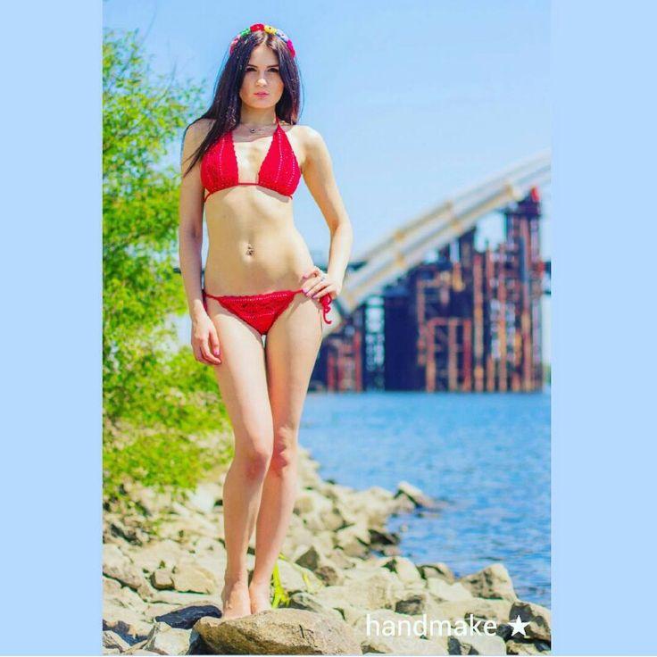 Red swimsuit with buttons #crochet #swimsuit #red #buttons #swimwear #white #handmake #handmade #lace #women #etsy #etsyfind #summer #beachwear #beach #sexy #fashion #style #вязаниекрючком #топ #ажур #белый #красный #купальник #девушки #лето #пляж #пляжнаямода #стиль