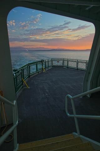 Sunset on Puget Sound from a ferry