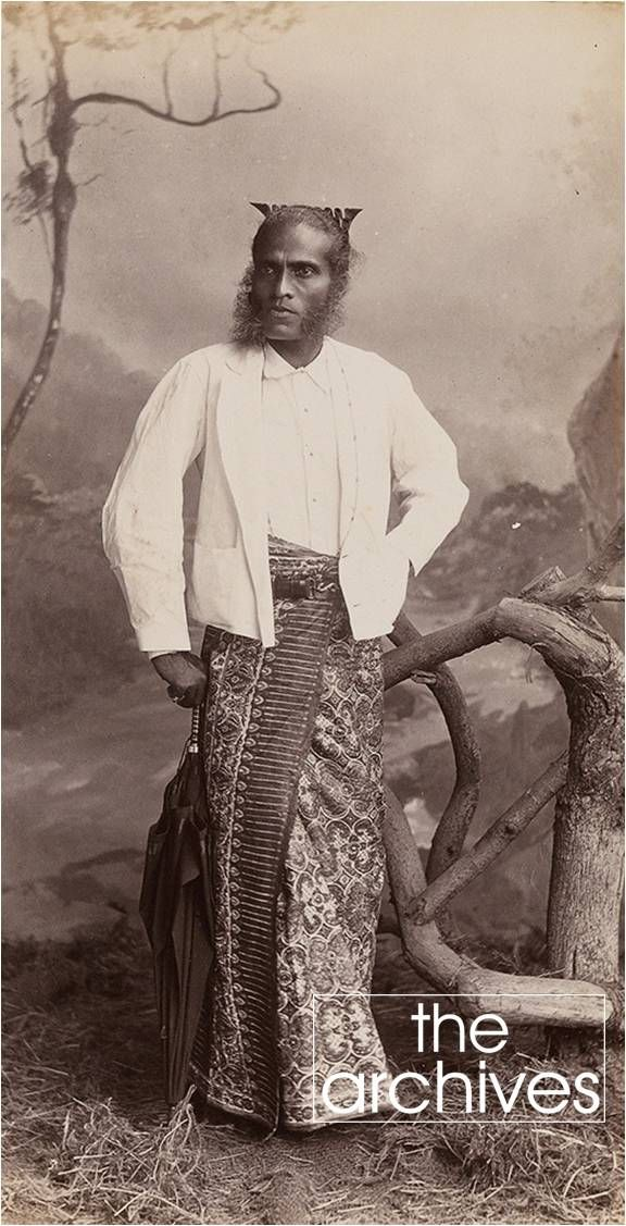 The title to this image says 'A Sinhalese Gentleman' - taken probably around 1880's & most likely from the estate of Major-General James Houlbrooke Drummond, who commanded the 122nd Rajputana Infantry. From an album which includes images of maritime scenes, traditional Asian transport, cultural and religious communities, British and Ceylon officials, and local chiefs headmen.