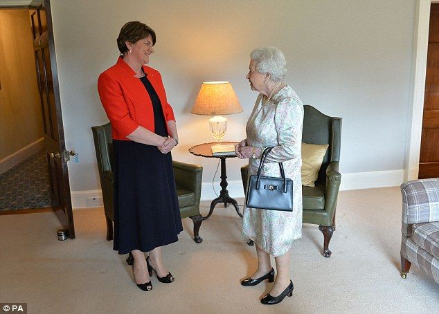 Action packed: The Queen talked to First Minister Arlene Foster at the beginning of the two day visit to Northern Ireland. - 27 June 2016.