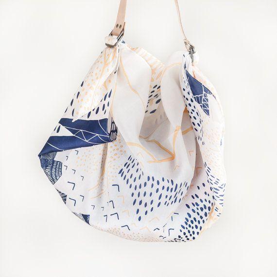 Mountain Blossom Furoshiki & Tan Leather Carry Strap Set
