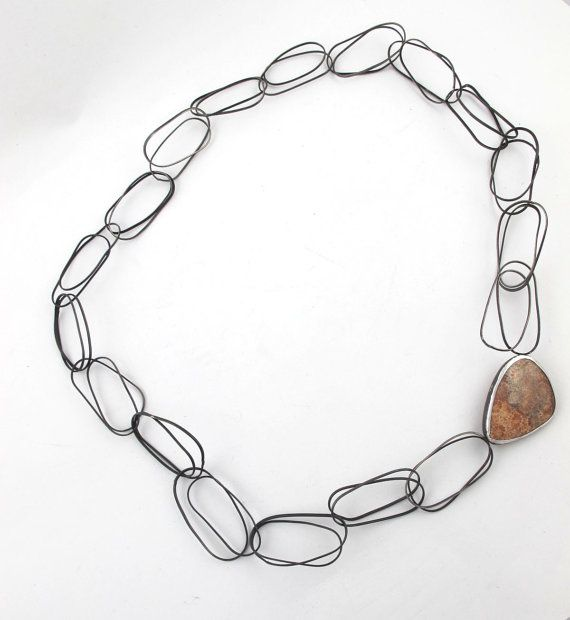 Line study-Fossilized coral. sterling silver and alpaca by Natalia Araya.