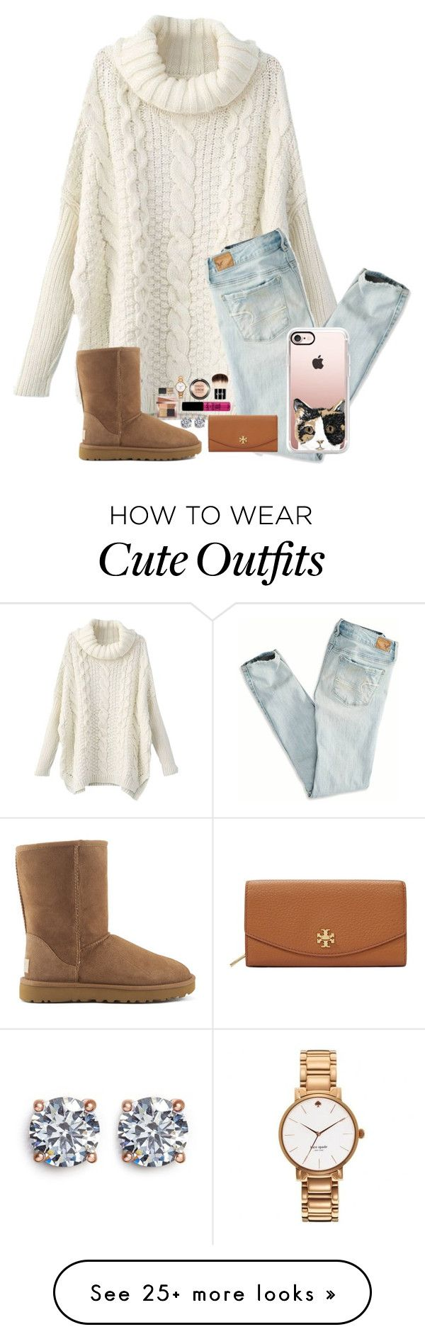 """Cuz its finally appropriate to wear this :)"" by kari-luvs-u-2 on Polyvore featuring American Eagle Outfitters, UGG Australia, Tory Burch, Casetify, NYX, CZ by Kenneth Jay Lane, Bobbi Brown Cosmetics, Kate Spade and NARS Cosmetics"