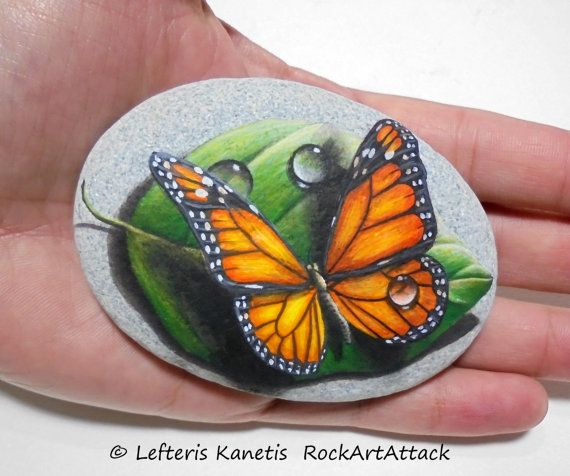 Stone Painting Monarch Butterfly On A Green Leaf by RockArtAttack