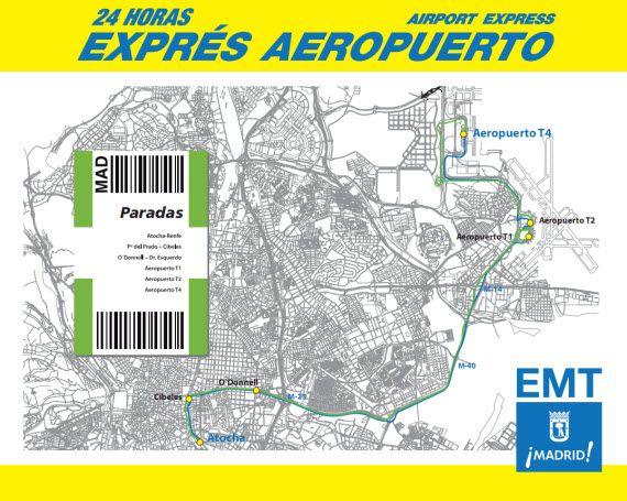 Nueva línea de autobuses al aeropuerto 24 horas de la EMT - pincha para ampliar el plano