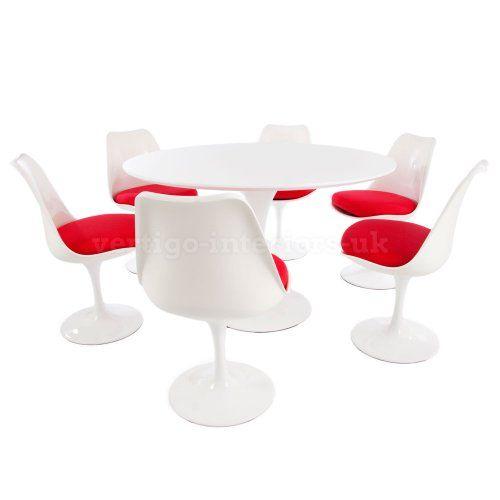 "Saarinen Style 47"" Large Size White Tulip Table & 6 Tulip Chairs - Blue Seat Cushions Vertigo Interiors USA http://www.amazon.com/dp/B00KI4GRNC/ref=cm_sw_r_pi_dp_IJcTtb15SVAKC8NQ"