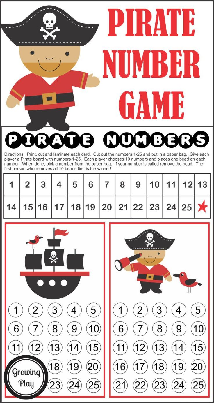 Pirate Numbers Game - this download is perfect to play at a pirate birthday party, indoor play time or for family fun night. Created by Growing Play.