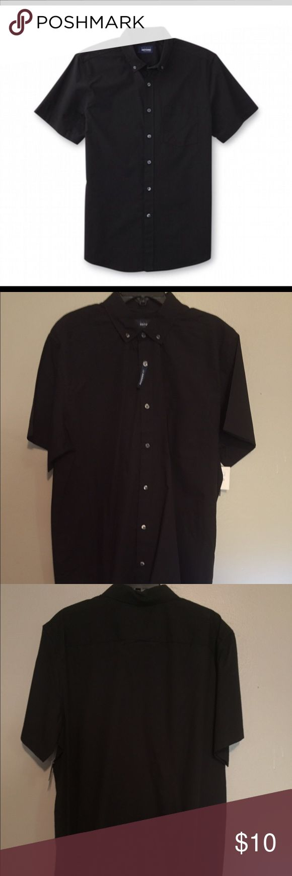 NWT XLT METEORITE BASIC EDITION BUTTON-FRONT SHIRT NWT METEORITE BASIC EDITIONS MEN'S BUTTON-FRONT SHIRT; size 3XLT. Wardrobe stable that fits for dressing up or down. Cut from lightweight poplin in a comfortable cotton blend, this easy care shirt resist wrinkles for wash and wear convenience.  A button-down collar gives this shirt a polished look that's perfect for topping off with a tie or bow tie. Basic Editions Shirts Casual Button Down Shirts