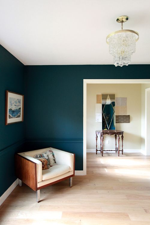 I love the wall color. Benjamin Moore's Dark Harbor, mixed 25% darkerWall Colors, Moore Dark, Paint Colors, Painting Colors, Benjamin Moore, Dark Harbor, Harbor Painting, Dark Wall, Accent Wall