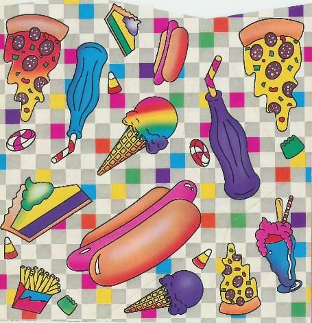 Vintage Lisa Frank Stickers - hot dogs, ice cream, pizza, pie, french fires, soda pop, candy, rainbow