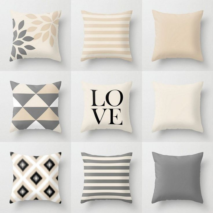 "Neutral Throw Pillow Covers, Beige Grey Black, 16"" 18"" 20"" 26"""