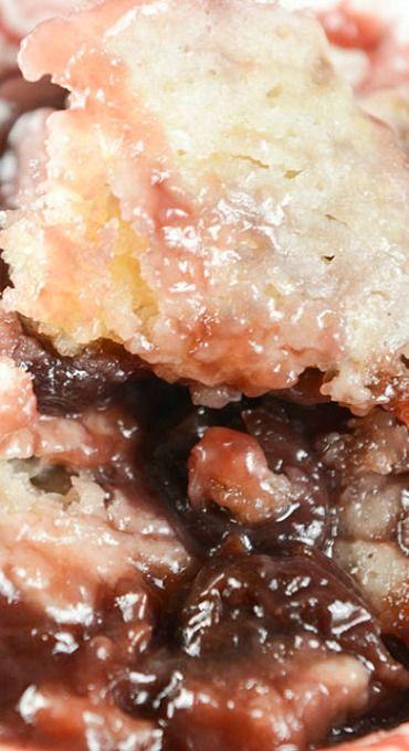 Crock Pot Dark Sweet Cherry Cobbler