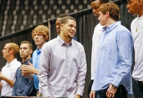 Wichita State's Fred VanVleet jokes around with his teammates during the WSU basketball awards celebration at Koch Arena Thursday. (April 16, 2015)
